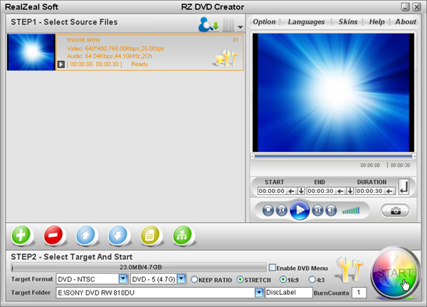 import movies into rz dvd creator